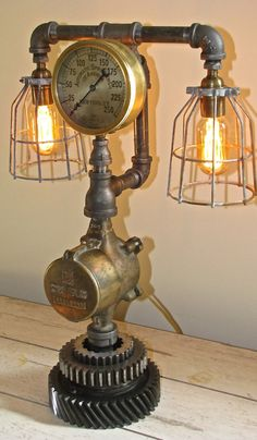 Hoodoo Creations Steampunk Lamp    HC 14-101    Lamp core is comprised of a salvaged water meter, manufactured by the Sensus Company. The brass