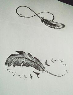 Las etiquetas más populares para esta imagen incluyen: birds, feather, infinity, sketch y tattoo