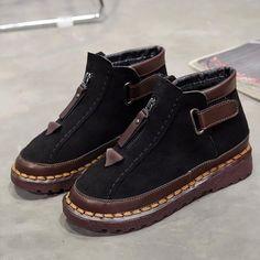 aa79250b074c9 Womens New Style Chelsea Platform Flat Bottom Martin Ankle Boots – RIKKISHOP