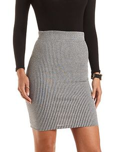 Ribbed Bodycon Pencil Skirt: Charlotte Russe