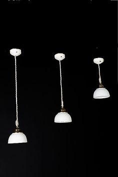 Set of 3 Italian Vintage Industrial Ceramic Shade Pendants