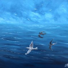 View larger image Oil On Canvas, Whale, Larger, Birds, Animals, Water, Animales, Animaux, Painted Canvas