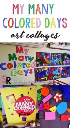 My Many Colored Days Collages #preschoolart #drseuss #colors #feelings #socialemotional #booksforkids #emotionaldevelopment #collageart #mymanycoloreddays #shapes #MGTblogger #mothergoosetime