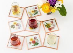 Pressed Flower Coasters - We compiled a list of 39 other DIY pressed flower ideas for you to make | Coolcrafts.com