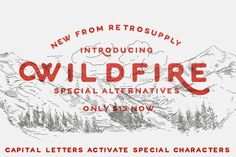 WildFire Font by Dustin Lee of Retro Supply Co. A humble all-caps, display font for those who enjoy the great outdoors. (With a vintage touch)