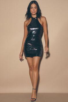 Live your best dancing queen life in the Lulus Classic Diva Black Multi Sequin Halter Bodycon Mini Dress! Iridescent black sequins cover this sexy bodycon. Tight Dresses, Sexy Dresses, Short Dresses, Sexy Outfits, Fashion Outfits, Womens Fashion, Latex Dress, Black Sequins, Bodycon Dress
