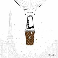Louis Vuitton by Megan Hess Megan Hess Illustration, Coffee Illustration, Illustration Art, Kerrie Hess, Mode Poster, Coffee Cup Art, Fashion Sketches, Bunt, Illustrators