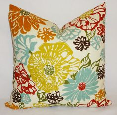 Decorative Pillow Richloom Invigorate Confetti Large Floral Red Blue Yellow Brown 18x18. $20.00, via Etsy.