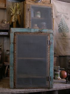 Gorgeous blue paint primitive wood cupboard. Sweet Liberty Homestead primitives.