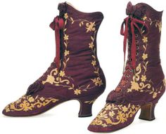 Embroidered silk boots, French, c. 1882-88.