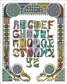 Vickery Collection Sampler Celtic Style - Cross Stitch Pattern. Model stitched on 16 ct white aida using DMC floss. Stitch count 158x199.