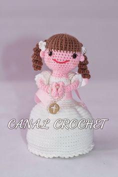 Blog amigurumis y crochet. Amigurumi Tutorial, Amigurumi Patterns, Crochet Patterns, Crochet Dolls, Crochet Baby, Free Crochet, Communion, Bride Dolls, Beautiful Crochet
