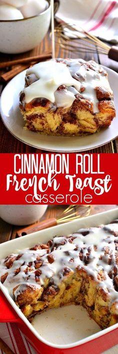 Cinnamon Roll French Toast, French Toast Bake, Cinnamon Rolls, What's For Breakfast, Breakfast Dishes, Breakfast Recipes, Breakfast Casserole, Hashbrown Breakfast, Morning Breakfast