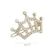 $2.18 Korean Style Rhinestone Embellish Imperial Crown Hair Pin For Female
