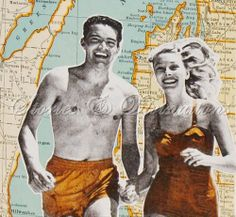 Michigan Beaches  Vintage Map Collage Card