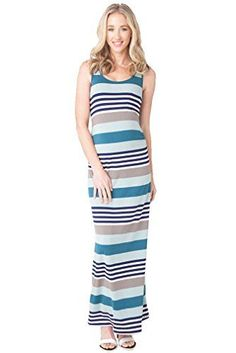 e90b538b90f06 Ripe Maternity Shelley Tank Maxi Dress Steel Blue Stripe Small ** Learn  more by visiting