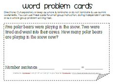 addition/subtraction word problem cards