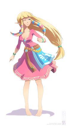 Skyward Sword: Carefree Zelda by *2D75 on deviantART