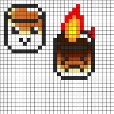 Roasted Marshmallows Perler Bead Pattern - My DIY Tips Melty Bead Patterns, Kandi Patterns, Pearler Bead Patterns, Perler Patterns, Beading Patterns, Perler Bead Designs, Perler Bead Templates, Hama Beads Design, Perler Beads