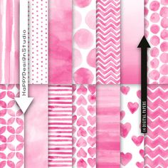Pink watercolor digital paper pack instant download baby shower invitation…