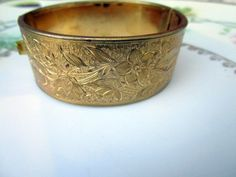 Victorian Revival Gold Gilt Brass etched Floral Hinged Cuff Bracelet Patina by Holliezhobbiez on Etsy