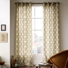 Ikat Ogee Linen Curtain - Ivory/Straw