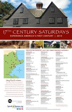 Discover what it was like to live in Essex County during America's first century as you explore many of the historical homes and buildings of America's First Period (1625-1725) the firs Saturday of the month (June through October).
