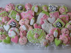 Ohhh Baby! | Flickr - Photo Sharing! love the plaque cookie with the baby's name on it!  great idea for a platter!