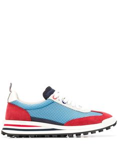 $630.0. THOM BROWNE Sneaker Mesh Panels Low-Top Sneakers #thombrowne #sneaker #sport #activewear #shoes Running Late, Mesh Panel, Thom Browne, Calf Leather, Calves, At Least, Light Blue, Lace Up, Flats