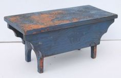 Antique Blue Paint Cricket Stool W Half Moon Cut Out Ends U0026 Shaped Sold For  275 Antique Wooden Bench46