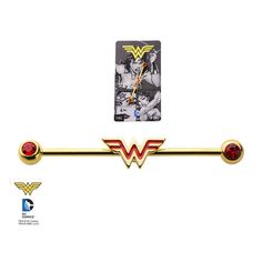 -DC Comics Wonder Woman 316L Surgical Steel Gold Plated Industrial Barbell - Industrials - Pierced Universe