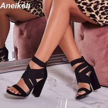 Aneikeh 2019 gladiador sandalias de moda sandalias de las mujeres zapatos  de tacón alto abierto del 784cface9aa5