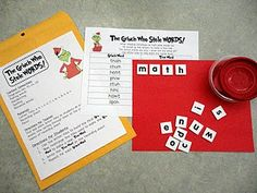 I am sooooo using this :) The Grinch Who Stole Words Literacy Center http://babblingabby.blogspot.com/2010/12/first-grade-grinch-activities.html