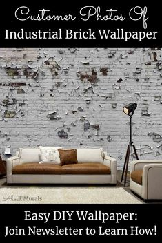 See how this Industrial Brick Wallpaper creates a gritty, urban feel on customer's walls. The realistic looking design is printed on removable wallpaper. Brick Wallpaper Room, White Brick Wallpaper, Diy Wallpaper, Peeling Paint, Looks Chic, Off The Wall, Easy Diy, Walls, Industrial