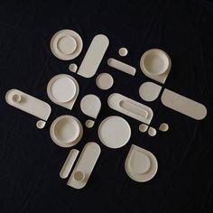 Tableware by Ilona van den Bergh courtesy of OnA - Perfectly Curated Tableware Compositions That Make Us Calm - Design Milk Ceramic Design, Ceramic Art, Bauhaus, Assiette Design, Ceramic Tableware, Kitchenware, Plate Design, Contemporary Ceramics, White Clay