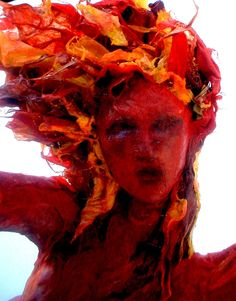 ooak paper mache sculpture element fire