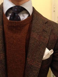 """michigantrad: """"jake-blazer: """"Color and Texture. """" This is the perfect sweater to complement this jacket. Love that burnt orange color. A winning combination, Mens Fashion Suits, Fashion Outfits, Tweed Men, Ivy League Style, Gentleman Style, Classic Outfits, Preppy Style, Mens Clothing Styles, Sport Coat"""