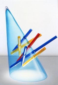 """Anvers 1988 Réalisé dans le cadre de la commande publique """"30 vases pour le CIRVA"""" Fabricant : Centre international de recherche et de création sur le verre et les arts, Marseille (France)   Vase Cône soufflé dans un moule, tubes de verre coloré travaillé à chaud hauteur: 45 cm diamètre: 45 cm S.D. gravé : Klein CIRVA 88 Achat par commande à l'artiste en 1989 Inv.: FNAC 91131 (1 à 8) Centre national des arts plastiques © droits réservés Crédit photographique : Gérard Bonnet"""