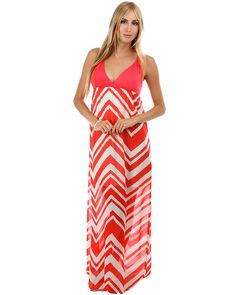 Coral Chevron Chiffon Maxi Dress with Twisted Straps $32.00 with a sweater would be cute for easter