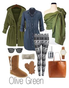 Olive Green by myheartcreative on Polyvore featuring maurices, Pilot, Old Navy, Madewell, Kate Spade, Isotoner, Aéropostale, Oliver Peoples and Essie