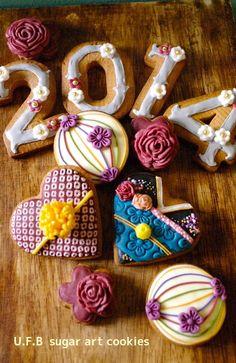 和柄アイシングクッキー U.F.Bの店:初アイシングクッキー。