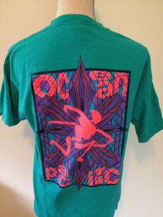 Vintage OCEAN PACIFIC  Neon Tshirt by 21Vintage on Etsy, $20.00