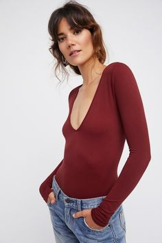 Seamless Solid Deep V | American made long sleeve seamless layering tee with a plunge V-neck.