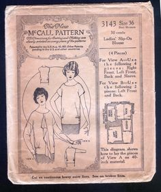 1920's McCall Pattern Ladies' Blouse with Hip Gathers | eBay