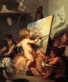 cherubs painting by Angelica Kauffmann (1741 – 1807, Swiss)