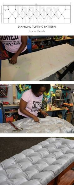 how-to tuft tutorial, I'll demonstrate the easiest tufting technique out there. Learn how to create diamond tufted headboards and benches like a professional without busting the budget. DIY projects on a budget. Create home decorations like a coffee table Tufting Diy, Diy Tufted Headboard, Diy Headboards, Headboard Benches, Headboard Ideas, Pegboard Headboard, Tufted Bench, Bedroom Benches, Diy Home Decor Rustic