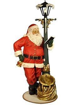 """He's Checking His List"" 78 Inch Santa Claus on Light Up Lampost. #SantaClaus #Santa #Claus #Christmas  #Figurine #Decor #Gift #gosstudio .★ We recommend Gift Shop: http://www.zazzle.com/vintagestylestudio ★"