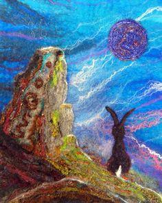 The Druid Stone  Original Felt Wall Hanging Hare by WildernessFelt