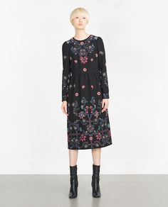 Image 1 of LONG EMBROIDERED DRESS from Zara
