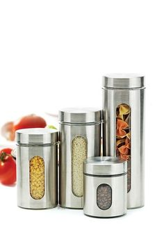 Nice #kitchen addition/organizer....Clearview Brush Glass Canisters - Set of 4 by Entertaining Must-Haves on @HauteLook @$29.00